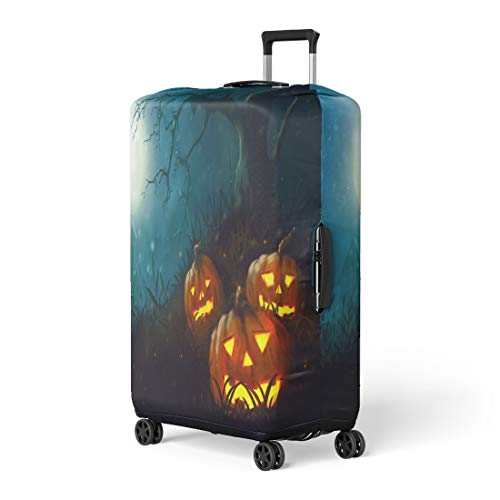 Pinbeam Luggage Cover Scarecrow Halloween Night Farm Dark Fantasy Painting Horror Travel Suitcase Cover Protector Baggage Case Fits 18-22 -