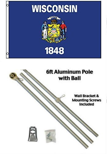 - ALBATROS 3 ft x 5 ft State of Wisconsin Flag Aluminum with Pole Kit Gold Ball Top for Home and Parades, Official Party, All Weather Indoors Outdoors