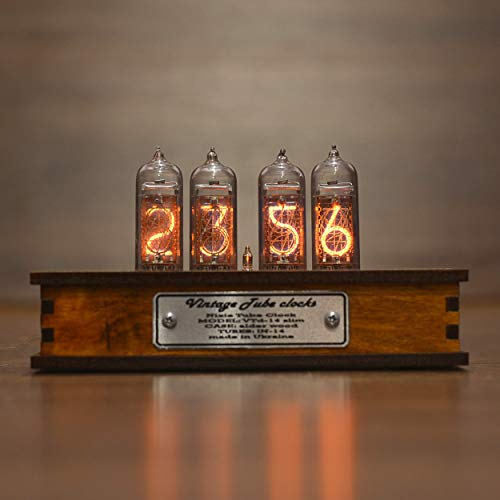 Nixie Tube Clock 4x IN-14 Nixie Tubes Vintage Retro Desk Clock Fully Assembled and Tested Wooden Alder Case (Best Nixie Clock Kit)
