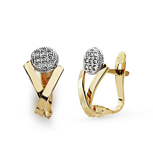 Boucled'oreille 18k 13mm bicolor d'or. zircons [AA7310]