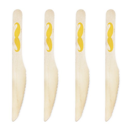 Dress My Cupcake 6.5-Inch Natural Wood Dessert Table Knives, Yellow Mustache, Pack of 100