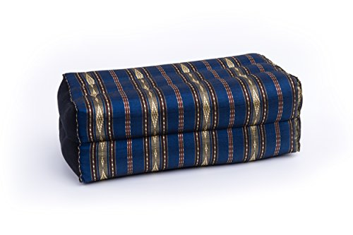 Meditation Cushion & Yoga Prop, 100% Kapok (Blue & Gold Stripes). By Kapok-Dreams.