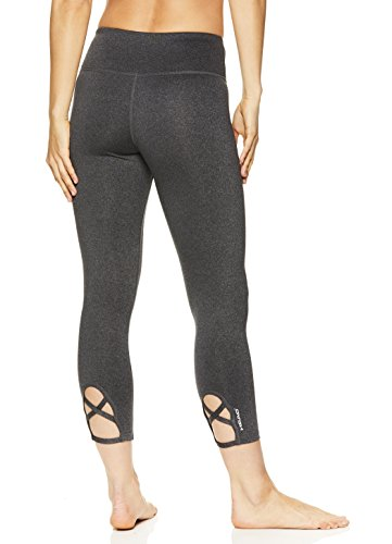 (HEAD Women's High Waisted Capri Leggings - Crop Activewear Yoga & Running Pants - Charcoal Heather Criss Cross, Large)