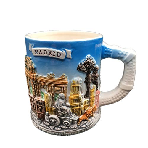 (Weekinglo Royal Palace Plaza Mayor Madrid Spain 3D Emboss Handpainted Ceramics Coffee Mug Cup Handmade Craft Tourist Travel Souvenir Collection Gift 12 Ounce)