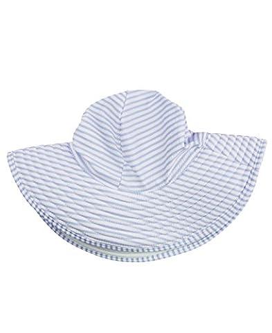 RuffleButts Infant / Toddler Girls Periwinkle Blue Striped Seersucker Swim Hat - Periwinkle Blue Seersucker - - Striped Seersucker Cap