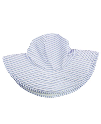 Rufflebutts Infant   Toddler Girls Periwinkle Blue Striped Seersucker Swim Hat   Periwinkle Blue Seersucker   12M 3T