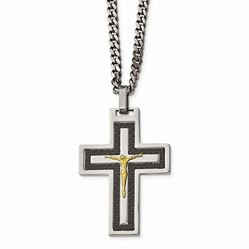 Stainless Steel Polished Blk Carbon Fiber Yellow IP CZ Reverse Crucifix Nec ()