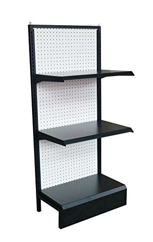 Fixture Displays 24.0'' x 54.0'' x 14.0'' Gondola Shelving w/ (2) Shelves and (10) 6'' Peg Hooks - Black 19418-NF by FixtureDisplays