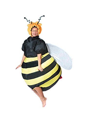 Inflatable Dancing Man Halloween Costume (Inflatable Costume Bee Halloween Fancy Dress Cosplay Animals Blow Up Jumpsuit for Adult (Bee))