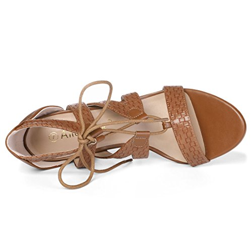 Allegra Sandals Lace Braided Up K K Brown Womens Womens Allegra 58w4OWq6