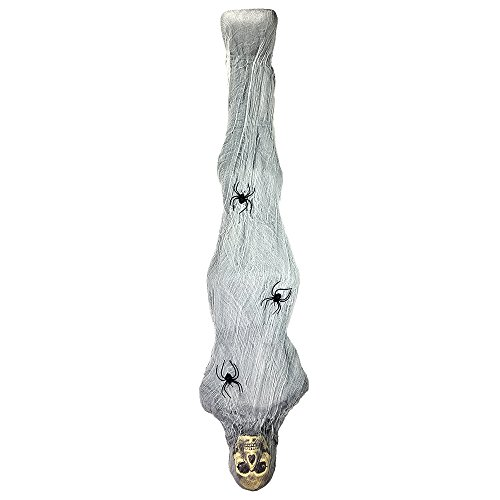[Creepy Hanging Cocoon Mummy Corpse Figure – 5 Feet Of Vintage Halloween Yard Props Or Decorations] (Halloween Decorations Ideas)