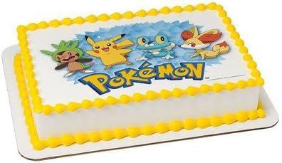 Pikachu Pokemon Edible Birthday Cake Topper 1//4 or 1//2 sheet Frosting