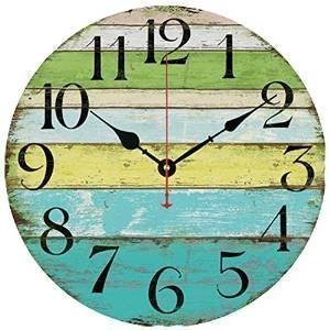 Eruner 14-inch Vintage Wood Wall Clock - Colorful Ocean Stripe Design France Paris Retro Style Non-Ticking Silent Wooden Wall Clock (#10, 14