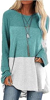 Zippem Womens Casual O-Neck Long Sleeve Patchwork Loose Top
