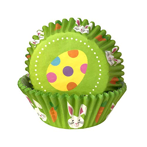 (Easter Holiday Polka Dot Egg and Easter Bunny Print Baking Cup Cupcake Liners Party Supply Decoration - 50 Pack)