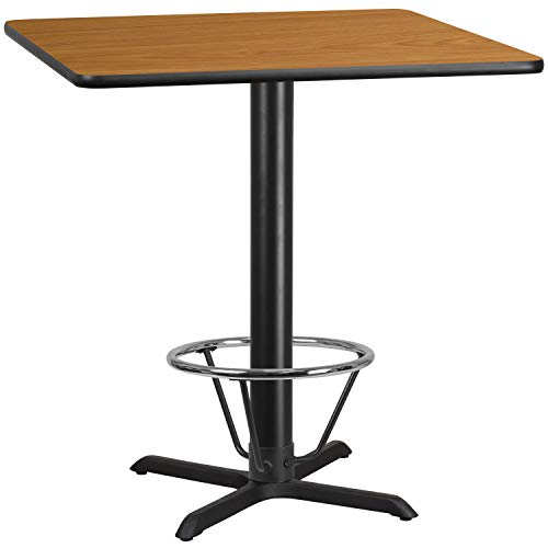 MFO 42'' Square Natural Laminate Table Top with 33'' x 33'' Bar Height Table Base and Foot Ring