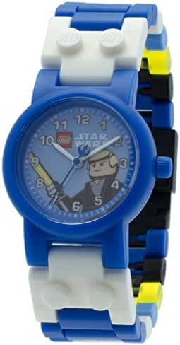 LEGO Star Wars Luke Skywalker Kids Buildable Watch with Link Bracelet and Minifigure | blue/white | plastic | 28mm case diameter| analog quartz | boy girl | official