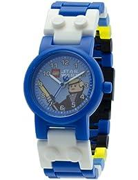 Star Wars Luke Skywalker Kids Buildable Watch with Link Bracelet and Minifigure | blue/black| plastic | 28mm case diameter| analog quartz | boy girl | official