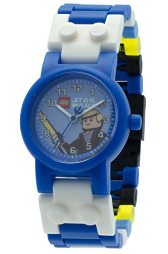 LEGO Star Wars 8020356 Luke Skywalker Kids Buildable Watch with Link Bracelet and Minifigure | blue/black| plastic | 28mm case diameter| analog quartz | boy girl | (Lego Kids Star)