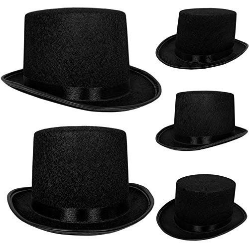 Top Hat Black Felt | One Size Magician Hat Costume | DIY Steampunk | Ultra Ringmaster Circus Hats | Dress Up Party Accessory | By -