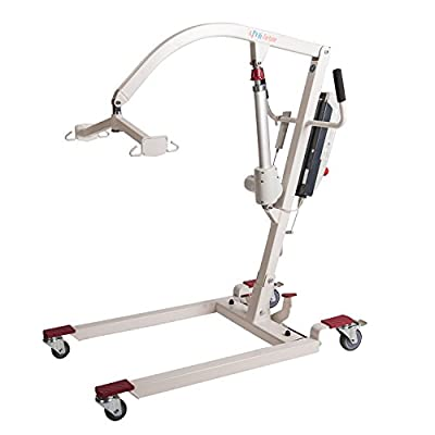 Hi-Fortune Electric Patient Lift Hydraulic Portable Lift with Full Mesh Sling, Base Width Adjustment and Ratable Cradle, 400 lbs Safe Working Load