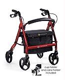 Comodità Spazio Extra Wide Heavy-Duty Rolling Walker - Rollator - with Comfortable 19' Wide Nylon Seat (Metallic Red)