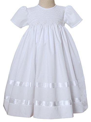 Hand Smocked White Girls Communion Dress, Baby Christening (Heirloom Smocked Dresses)