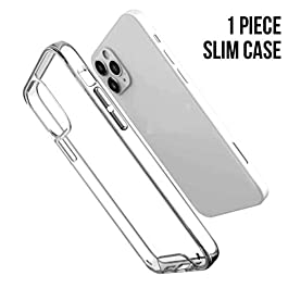 AE Mobile Accessories Back Cover for iPhone 12 (6.1 inch), Rugged Crystal Clear Shockproof TPU Bumper Cases Non Slip Scratch Resistant PC Hard Back Protector Cover (Transparent)
