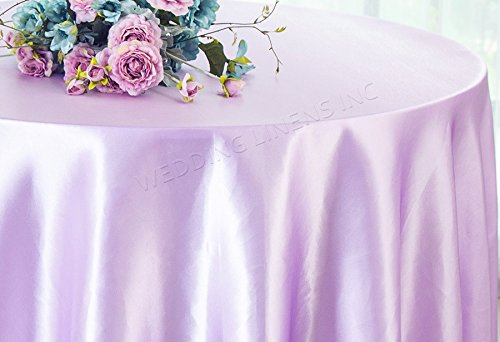 Wedding Linens Inc. 90″ Round Seamless satin tablecloths Table Cover Linens for Restaurant Kitchen Dining Wedding Party Banquet Events – Lavender