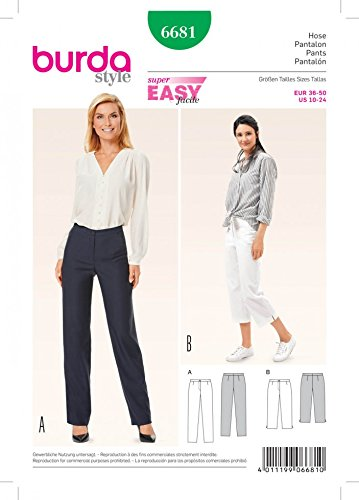 Burda Ladies Easy Sewing Pattern 6681 Sleek Narrow Trousers