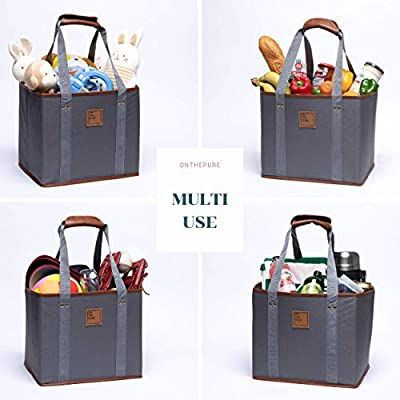 ONTHEPURE - Reusable Grocery Shopping Box Bags - Collapsible Reusable Cart Bags - Grocery Tote Bags - Durable Nylon Material+PU Leather Insertions - Convenient Strap Handle and Pocket(Set of 2, Grey)