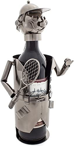 [Gesponsert]Brubaker Weinflaschenhalter Tennisspieler Metall Skulptur mit Geschenkkarte