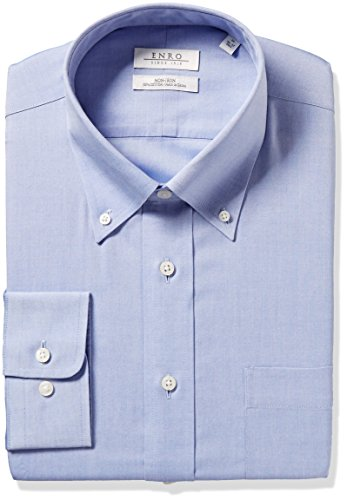 Enro Men's Big and Tall Classic Fit Solid Button Down Collar Dress Shirt, Light Blue, 20