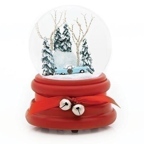 Jingle Bell Rock Santa (Ford 1955 Thunderbird Blue Winter 100MM Glitterdome Water Globe Plays Jingle Bell Rock)