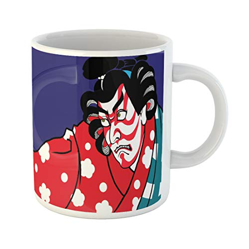 Semtomn Funny Coffee Mug Kabuki Japanese Art Mask Activity Actor Asia Asian Background Cartoon 11 Oz Ceramic Coffee Mugs Tea Cup Best Gift Or Souvenir