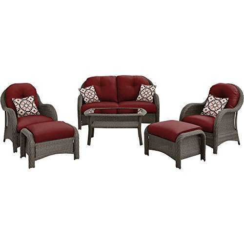 - Hanover NEWPORT6PC-RED Outdoor Newport 6-Piece Woven Seating Set, Crimson Red