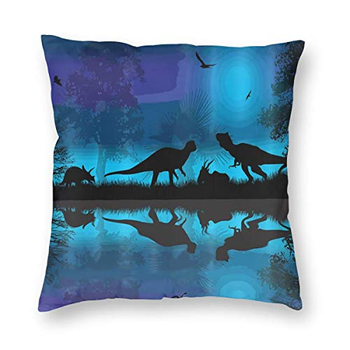 Private Bath Customiz Dinosaurs River Moon Night Dinosaur Throw Pillowcase for Sofa Square Cushion Cover Decorative Pillow Case Covers 12 x 12 inch]()