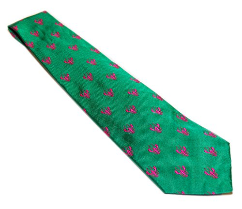 (Polo Ralph Lauren Men Satin Silk Preppy Dress Tie Italy Green Pink Lobster Motif)