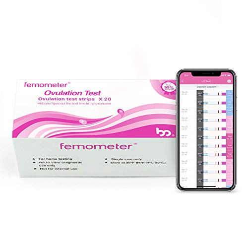 Femometer Ovulation Test Strips Kit, 20 LH OPK, Sensitive Fertility Predictor Testing Sticks, Accurate Results with Smart App (iOS & Android) Automatically Recognizing Test Results (Best Fertility Monitor 2019)