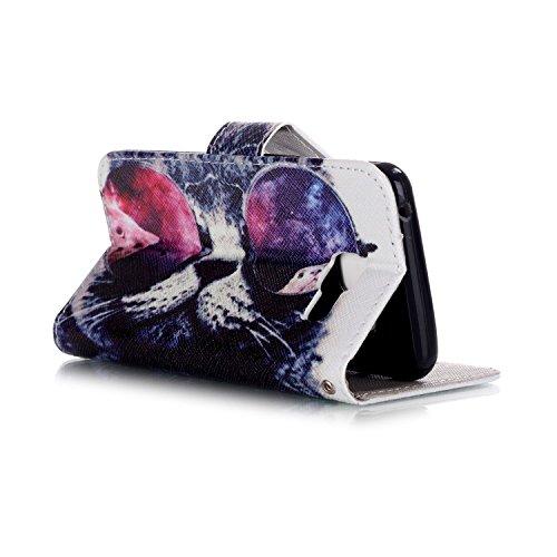 Sony Xperia XA Funda de cuero de la PU Carcasa a prueba de choque paraSony Xperia XA Feeltech Cierre Magnético Híbrido Kickstand Con Soporte Función Protección yCreditTitular de la Tarjeta Correa d Gafas de Sol Gato