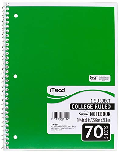 Mead SLTYGJHJ Spiral Notebooks, 1 Subject, College Ruled Paper, 70 Sheets, 10-1/2'' x 7-1/2'', Assorted Colors, 6 Pack (73065) 36 Pack by Mead (Image #4)