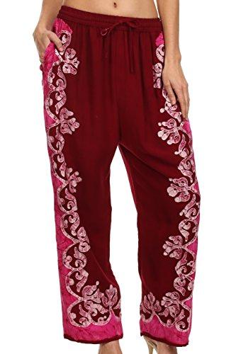 Sakkas 4217 - Margiela Embroidered Stonewashed Wide Leg Palazzo Pant - Burgandy / Pink - - Margiela Boutique