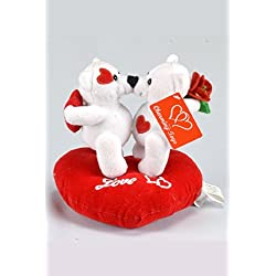 Valentines Day Plush Musical Teddy White Couple Bears with Red Heart - 7 Inches