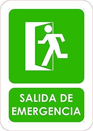 Señal Salida de Emergencia | Tamaño A5 (21x14,8cm) | Decoración Pared | Aluminio 3 mm resistente: Amazon.es: Hogar