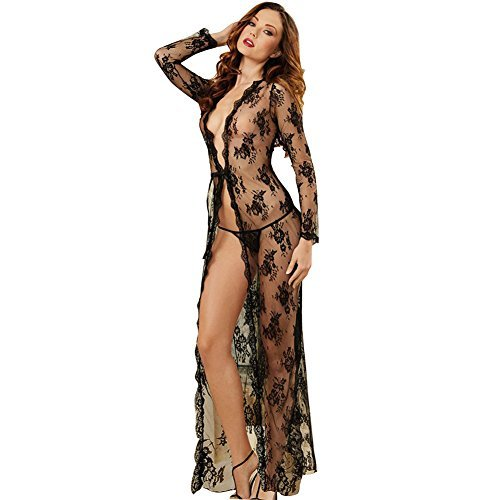 Sexy Women's Delicate Lace Sheer Peignoir Gown Nightgown and Lace G-String Set