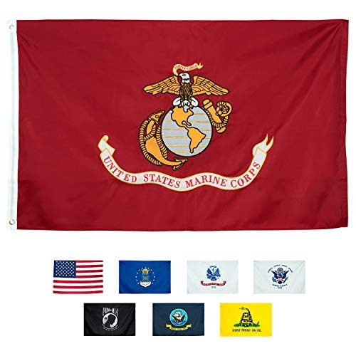 (Marine Corps Flag 3x5, Heavy Duty Embroidered & Double-Sided US Military Banner| for Inside/Outside Use | UV Protected, Long Lasting Nylon | Brass Grommets for Easy Display | USMC Flag)