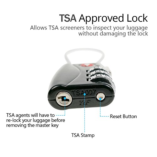 TSA Cable Lock for Luggage, Small 3 Dial Combination Padlock Ideal for Travel Added Security for Suitcases and Backpacks - 2 Pack Black by Muatoo (Image #3)