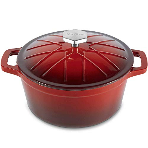 Pan Roaster Enamel (VonShef Cast Iron Round Dutch Oven Pot Casserole Dish, Naturally Non Stick Stain and Odor Resistant, Enamel Coated Graduated Red Ombre, 12 Inches, 4 Quarts)