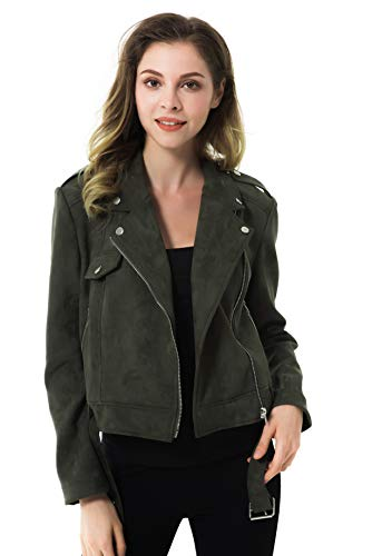 Apperloth Women's Solid Long Sleeve Faux Suede Zipper Short Coat Jacket