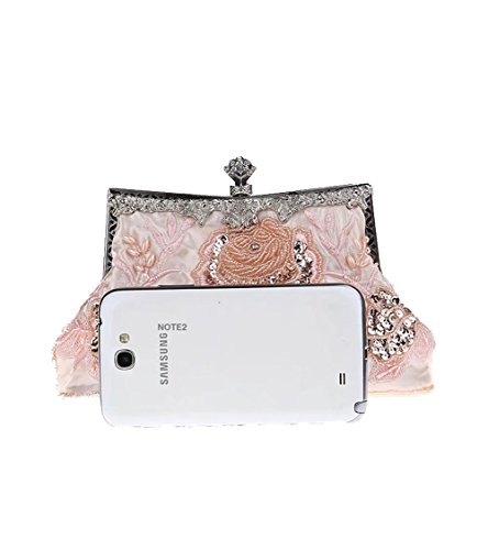 Party Soft Puluo Handbag Bridal Beaded Wedding Satin with Pink Clutch Evening Clutch for Shouder Bag Green Ladies Chain Bags Vintage Prom Bags Sequain Bag Purse Women's 55vqrxw1g
